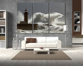 Large Wall Lighthouse Canvas Color Pharos Multipanel Canvas Big Wave  Art Large Ocean 1-3-4 Panels Lighthouse Wall Large
