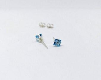 topaz stud earrings, 925 sterling silver topaz studs, Swiss blue topaz studs, silver topaz earrings, 925 silver topaz earrings