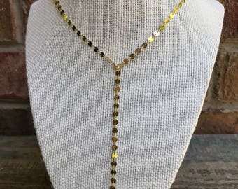 Gold Coin Y Necklace