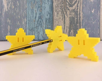 3D Printed Mario Star Pencil Toppers Set of 3, Nintendo inspired Mario Gift
