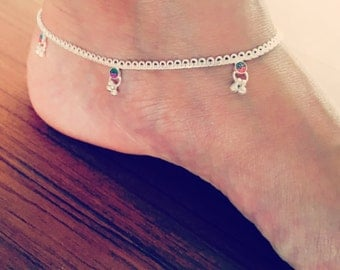 Sterling Silver Anklet, Indian anklet, ethnic anklet, Bridesmaid gift, tribal anklet, delicate anklet, beach wedding jewelry, gempirein