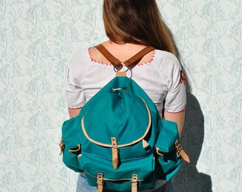 Leather canvas backpack, large backpack, large canvas backpack, leather backpack, vintage backpack, large vintage backpack, hiking backpack