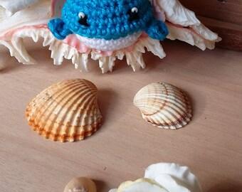 Crocheted Keychain blue whale with beads-Amigurumi