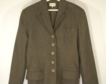 90 jacket true vintage 42 grey Blazer jacket Tweed felt ladies women classic Office business suit retro