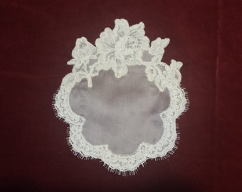 pure silk organza doily French lace inlays