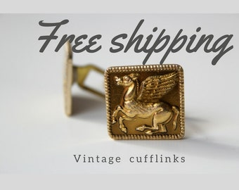 Pegasus cufflinks, Vintage Cufflinks, gold Cufflinks, retro Cufflinks, USSR Cufflinks, 70th, ornament Cufflinks, Soviet vintage cufflinks