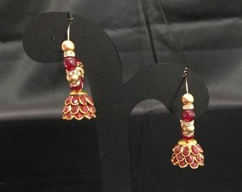 Maroon Flower Jhumka Earrings - Indian Jewelry - Indian Bridal - Jhumki Earrings - Kundan Jewelry - Kundan Earrings - Pakistani Earrings -