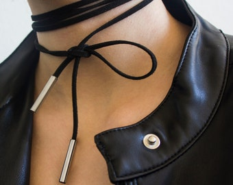 Choker necklace black suede and silverish pendants inspirational mother sister gift for her trend fashion vogue