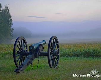 Dawn on the Battlefield | Wilderness Battlefield | Virginia | Historical Photography | Civil War Cannon | Fog