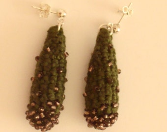 Green Cactus crochet,beads and silver earrings. Gift for her .
