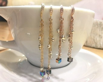 14k gold, rose gold earrings, Handmade, sterling silverbeads, swarovski crystals
