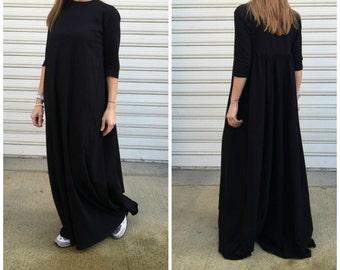 "Oversized Black Dress / Women Long Cotton Dress / Maxi Black Dress / Loose Maxi Caftan - ""FF Candy"""