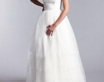 Bridal skirt, Long tulle skirt, Soft tulle skirt, Long bridal skirt with sequins