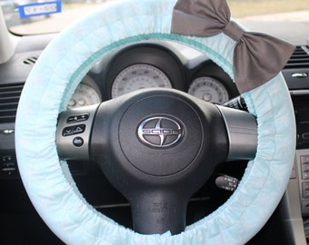 Light Blue Steering Wheel cover with Bow pin - cute car decor, affordable, accessories, comfortable, customizable, gift for her, girl gift