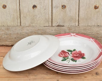 Set of 6 Digoin Sarreguemines soup plates / Cibon Red Rose pattern / made in France / ceramic / Country chic