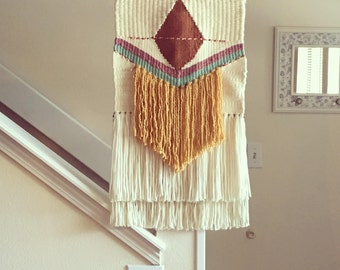 Woven wall hanging, large bronze diamond with fringe