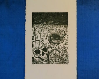 Skull and Poppies, Original Etched print, solar plate etching, black ink, Editioned and Signed
