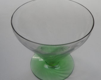 Fostoria Green Optic Loop Footed Tumbler