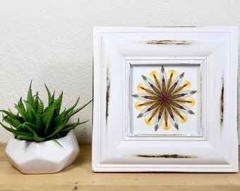 4x4 Floral Art Print in Rustic Frame // Vintage Style Frame // Mandala // Small