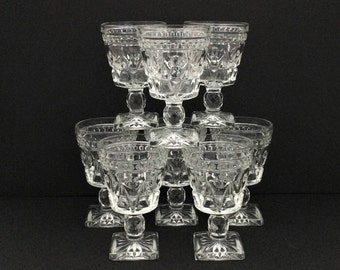 Park Lane Clear Wine Glasses - Colony Indiana Glass - Set of 8
