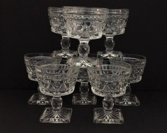 Park Lane Clear Champagne/Tall Sherbet Glasses - Colony Indiana Glass - Set of 8