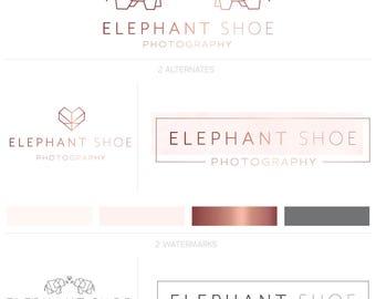 Rose Gold Photograpy Logo, Premade Logo, Customized Logo, Photography Logo, Elephant Logo, Origami Logo, Simple Logo Design, Minimalist Logo
