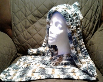 Varigated BLUE, BROWN and WHITE Hooded Scarf