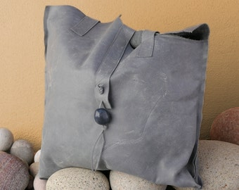 Gray Leather Shoulder Handbag - Handmade Purse