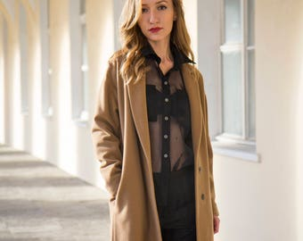 Camel wool cashmere classic coat for women long wool womens coat winter beige coat womens cashmere coat drop shoulder single breasted