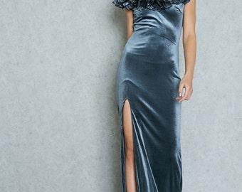 Velvet Flower Slit Dress Gray