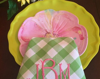 Apple Green Monogrammed Buffalo Print Napkins