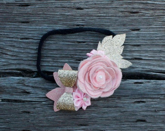 Pink and Gold Rose Bow Flower Crown, Baby Headband, Baby Flower Crown, Coachella Hair Piece