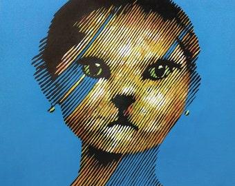 Oh my cat! Acrylic on canvas 95 x 95 cm.