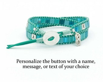 Personalized Ovarian Cancer Awareness Double or Triple Wrap Bracelet Sterling Silver