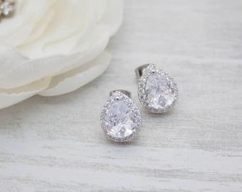 Earrings silver crystal wedding cubic zirconia bridal Bridal jewelry
