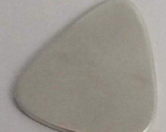 Guitar Pick, Handmade in Sterling Silver, Standard Sized Pick, Plain Brushed Finish
