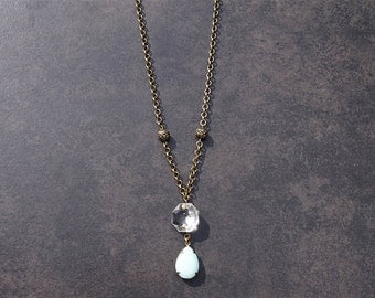 Vintage Aqua Glass Pendant Necklace with Vintage Chandelier Crystal; Vintage Pendant; Upcycled Jewelry