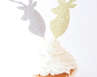 Deer Cupcake Toppers - Cupcake Toppers - Rustic Cupcake Toppers