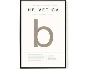 "Helvetica Poster, Screen Printed, Archival Quality, Wall Art, Poster, Designer Gift, Typography Print, 24"" x 36"""