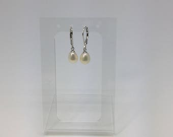 Silver 925 white pearl leverback earrings