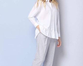 Fashionable blouse, Short sleeve blouse, Blue, 100% cotton, Summer blouse, Loose blouse,  Office blouse, White blouse