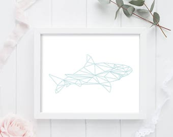 Geometric Shark Print - Shark Print - Shark Decor - Shark Art - Shark Painting - Animal Art - Geometric Animal - Animal Print - Modern Print