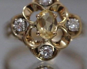 Vintage Citrine and Diamond Cluster 1.22cttw