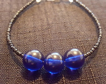 Clear Royal Blue Bauble Beaded Bracelet