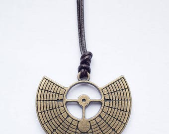 Burning Man sacred geometry playa gift pendant on leather strap
