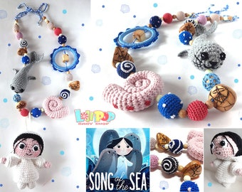 Nursing necklace, Teething necklace, Song of the Sea, Selky, Snail, Fur Seal, Sling Accessory, breastfeeding necklace, Crochet