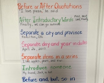 Crazy Commas Anchor Chart