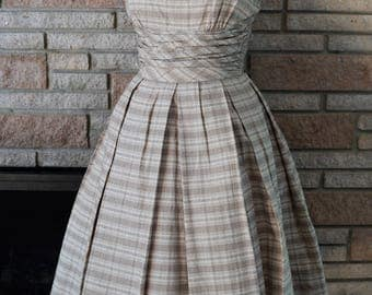 Vintage 1950s Brown Plaid Dress with Matching Bolero / 50s Jonathan Logan Dress XS Small