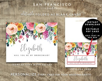 Personalized Will You Be My Bridesmaid Card, Maid of Honor, Wedding Party | Custom | Ashley collection | Editable PDF, Instant Download