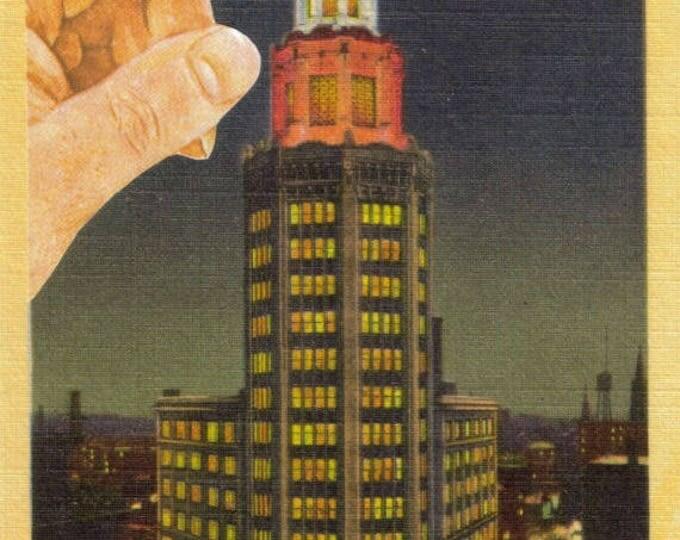 Retro Architecture Art, Vintage Buffalo Postcard, Original Artwork